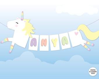 Pastel Unicorn Banner, Girls Birthday Decor Pastel Nursery Decor, Girls Name Banner, Unicorn Birthday, Baby Shower Pastel Baby Name Banner