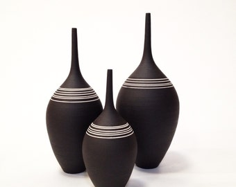 Made To Order- set of 3 large stoneware teadrop bottles by sara paloma .  black and white ceramics pottery sarapaloma modern minimal design