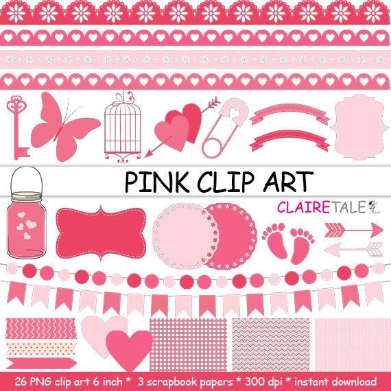 "Digital ""PINK CLIP ART"" frames, labels, ribbons, borders, flags, arrows, butterfly, lights, hearts, mason jar, key, bird cage, baby shower"