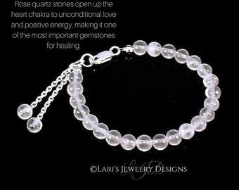 Rose Quartz Heart Chakra Bracelet Womens Rose Quartz Sterling Silver Love Healing Calming Pink Crystal Rose Quartz Bracelet
