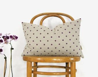 SALE / Lumbar 12x18 Polkadot Decorative Pillow Case in Plum and Beige, Minimalist Decorative pillows | Purple Polka Dots Cushion Cover