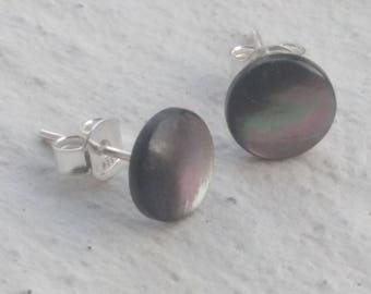 Earrings - grey abalone shell chip
