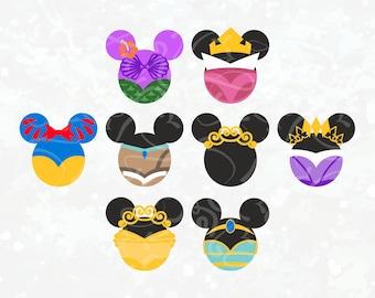 Disney Princess SVG Disney svg Princess Jasmine Ariel Belle Pocahontas Sleeping Beauty Snow white Rapunzel Mouse ear svg Disney Princess SVG