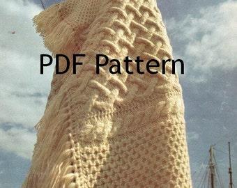 Fishermen Knit, Fair Isle Afghan, Blanket, Vintage 1972, Galway Pattern Digital Download