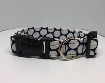 Blue and White Polka Dot Large Dog Collar