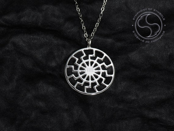 Black sun pendant occult symbol stainless steel jewelry sun for Do pawn shops buy stainless steel jewelry