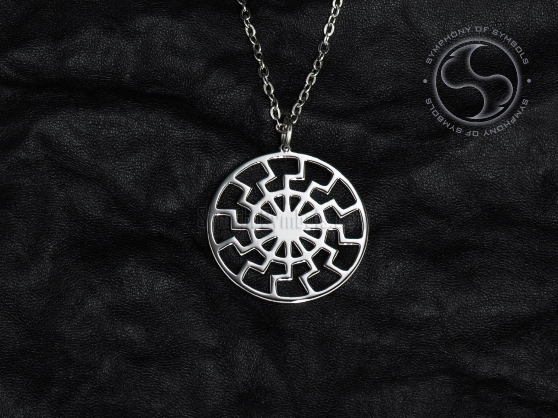 black sun pendant occult symbol stainless steel jewelry sun. Black Bedroom Furniture Sets. Home Design Ideas