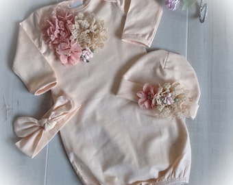 Baby Girl Coming Home Outfit, Newborn Girl Gown, Peach Layette Gown Cap with Chiffon Flowers