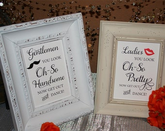 Bathroom Signs, Ladies You Look Oh-So Pretty Gentlemen You Look Oh-So Pretty, Wedding Signs,Bathroom basket signs 5x7 NO Frame