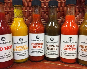 B&P's  Hot Sauce Rainbow 6 Pack - 1.0 - Red Hot, Fatalii Attraction, Cherry Bomb, Santa Fe Smoke, Holy Ghost, Friendly Ghost