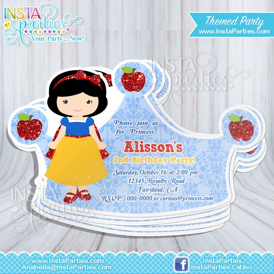 Snow White invitations Princess crown tiara Princess cut out