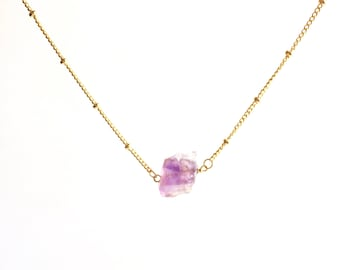 Raw Amethyst Satellite Chain Necklace, Raw Amethyst Necklace, Rough Amethyst Necklace, Gold Amethyst Necklace, February Birthstone Necklace