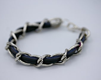 Black Leather and Silver Bracelet 7 Inches