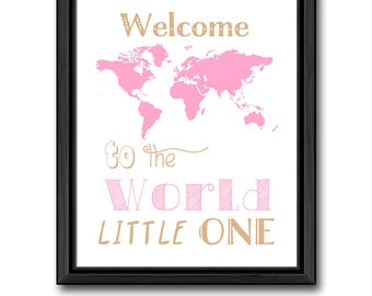 baby girl room decor, welcome to the world baby print, girl nursery, baby girl decor, travel theme nursery print, baby quotes, baby gift