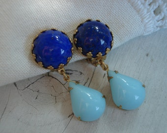 Vintage Art Deco Lapis Lazuli Glass and Sky Blue Light Aqua Chalcedony Teardrops Gold Clip Earrings