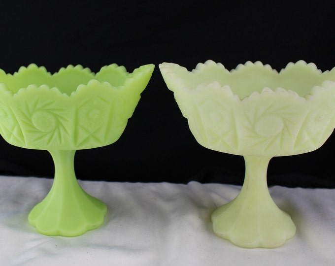 Pair Vintage Fenton Custard and Green Frosted Footed Pedestal Bowl Pinwheel Pattern