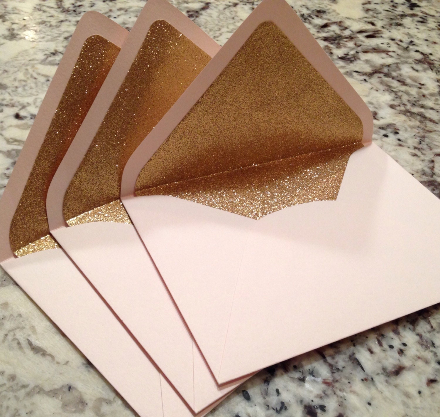 Luxe Blush A7 5x7 Gold Glitter Lined Envelopes Pale Pink