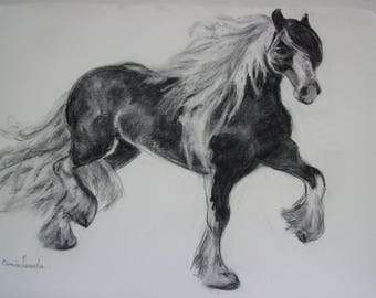 Original Charcoal Friesian Horse Sketch
