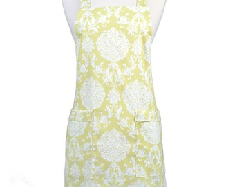 Japanese Crossback Apron Canvas Apple Green Damask Retro Print - Womens Vintage Style Crossover Pinafore Kitchen Apron