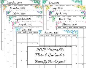 2019 Printable Calendar, Floral Calendar, Letter Size, Monthly Planner, Instant Download