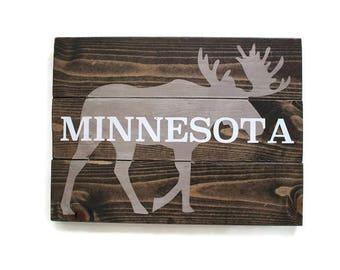 Moose Sign, Wood Minnesota Sign, State Sign, Rustic State Decor, Woodland Decor, Northern Minnesota Decor, Wood Decor, Moose Decor