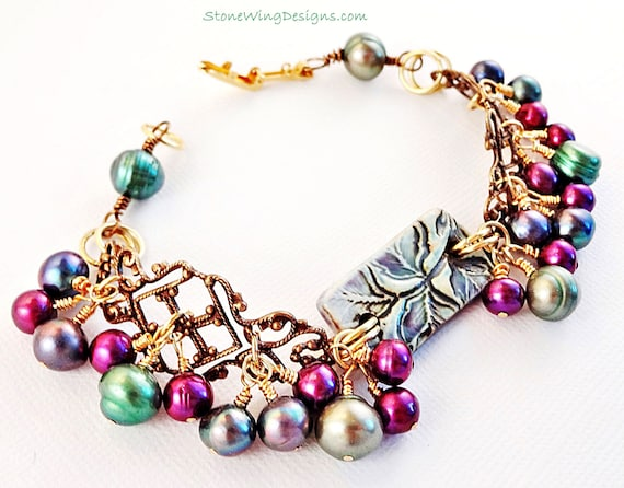 Peacock Pearls Bracelet with Ceramic, Freshwater Pearls and Antique Brass Filigree