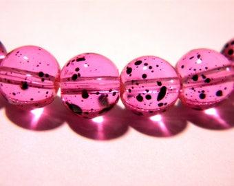 20 glass beads 8 mm - fuchsia - translucent mottled glass - G37