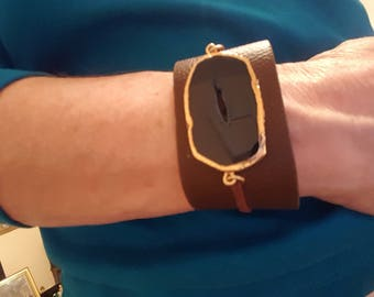 Wide Brown Leather Cuff Bracelet with Natural Stone