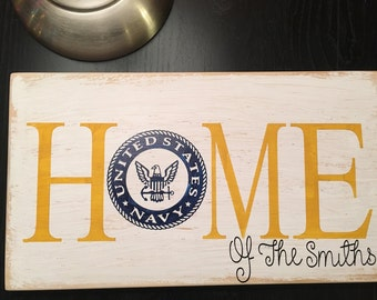 Navy home sign, navy sign, home sign, personalized sign