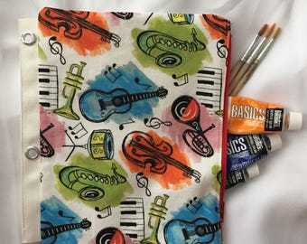 Top Zipper Music Pencil Case Makeup Case For Binder