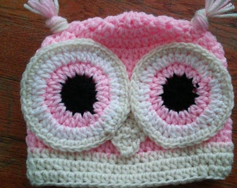 Adorable Custom Colored Owl Hat Size Newborn to 2T