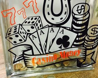 Casino Money Bank / Gambler Gift / Piggie Bank /  Glass Block Bank