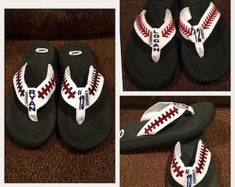 Baseball Flip Flops, Football flip flops, Baseball, baseball sandals,baseball mom, flip flops, sandals, football mom, football