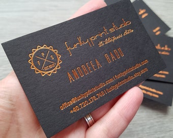 500 Custom hot foil business cards, black card stock. Copper foil, gold foil, silver foil calling cards, small cards stationery