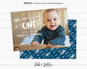 First Birthday Invitation for Boy - 1st Birthday - Photo Birthday Invitation - Custom Birthday Invites - Digital Invitations - Full Photo