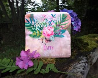 Boho wedding purse, bridesmaid gift, floral case, zipper coin purse, wedding gift, bohemian purse, gift for bride, small makeup bag