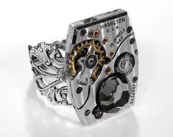 Steampunk Jewelry Ring Hamilton Pinstripe Watch Featured in JEWELRY ARTIST Mens Womens Ring Anniversary EXQUISITE - Jewelry by edmdesigns