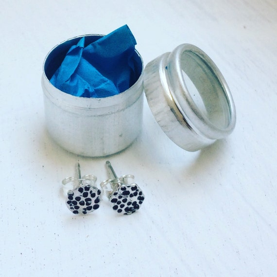 Tiny Full Moon Sterling Silver Stud Earrings - Studs - Tinned - Gift - Bridesmaid - -Birthday - Spotty