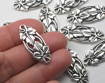 Silver Infinity Leaf Links, Antique Plated TierraCast Focal Centerpiece, Rivetable Lead Free Pewter