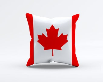 Flag of Canada Throw Pillow Cover 15 x 15 inch, Decorative Pillows. Pillow Case