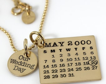 Our Wedding Day Mark Your Calendar necklace - hand stamped and personalized gold filled necklace