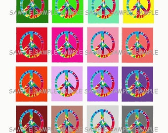 INSTANT DOWNLOAD...Tie Dye Peace Signs... Images Collage Sheet for Scrabble Tile Pendants ...Buy 3 get 1