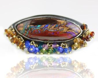 Koroit Boulder Opal Ring with Gemstone Fringe. US size 8 1/2