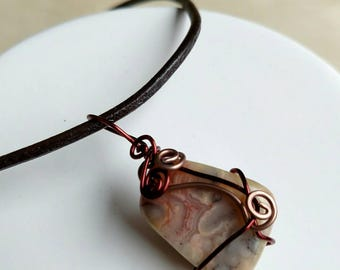 Crazy Lace Agate Necklace - Wire Wrapped Necklace