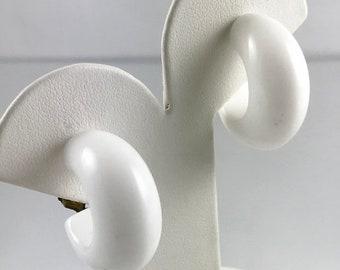 Vintage Chunky White Hoop Clip On Earrings
