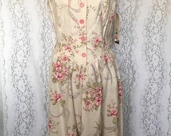 Vintage 80's floral tank top button down summer dress