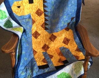 Handquilted Giraffe Baby/Crib/Nursery Quilt