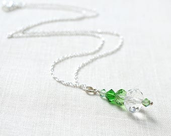 Mothers Day Gift St Patricks Day Necklace Stacked Crystals Necklace Sterling Silver Chain Irish Necklace Green Crystal Spring Gift for women