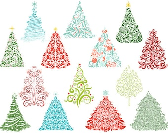 Instant Download Christmas Tree Clipart, Flourish Swirls Christmas Tree Clipart, Hand Drawn Christmas Tree Clip Art, Christmas Tree 0395