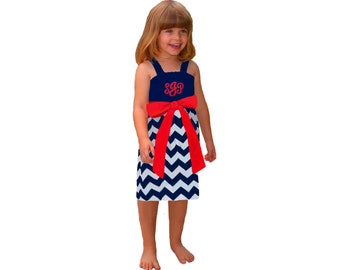 Red + Navy Chevron Dress- Girls